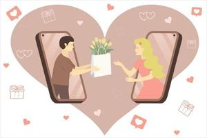 um cara apaixonado do telefone dá a uma garota um pacote de tulipas vetor