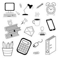 ícones de linhas pretas de vida no escritório definidos com rabisco de mão vetor