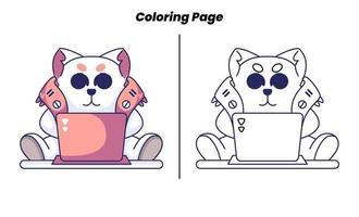 gato robô fofo com páginas para colorir vetor
