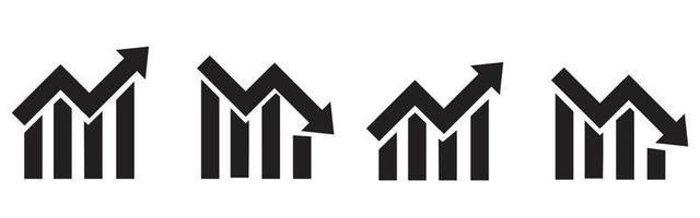 crescente conjunto de ícones de gráfico de barras. aumento simples do gráfico. Barra de progresso vetor