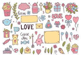 conjunto de casamento colorido, ilustração vetorial vetor