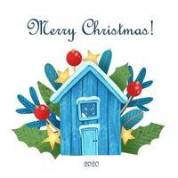 cartão de Natal com casa mágica à noite luzes de fundo vetor