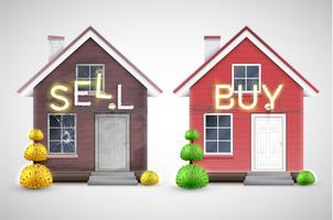 Uma casa velha para vender e uma nova para comprar, vetor