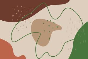 paisagem abstrata com manchas de diferentes formas, linhas e pontos. vetor