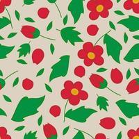 padrão floral romântico de flores e botões vermelhos brilhantes. vetor