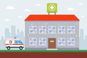 edifício de hospital e ambulância. vetor