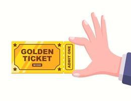 um bilhete único dourado na mão de uma pessoa. ilustração vetorial plana. vetor