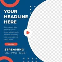 modelo de postagem de design de feed de streaming ao vivo em mídia social vetor