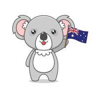 Coala bonito dos desenhos animados segurando a bandeira australiana vetor