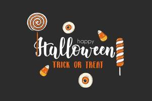 cartão de halloween com pirulitos coloridos desenhados à mão. vetor