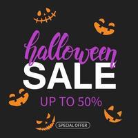 cartaz de venda de halloween com letras de mão desenhada. até 50 vetor