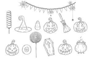halloween com mão desenhada icons.happy halloween.trick or treat vetor