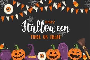 pôster de halloween com jack abóbora, chapéu de bruxa, doces vetor