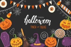 pôster de halloween com abóbora, chapéu de bruxa, raízes de doces, poção vetor