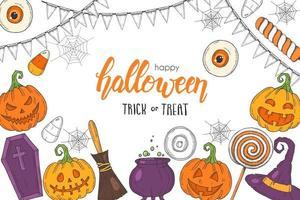 halloween com abóbora, chapéu de bruxa, doces vetor