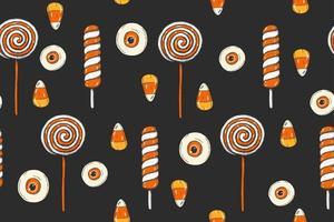 padrão sem emenda de halloween com doces coloridos feitos à mão. vetor