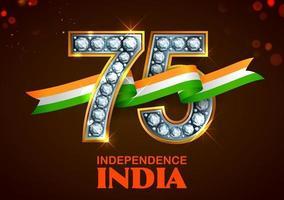 tricolor para o 75º dia da independência da Índia em 15 de agosto vetor