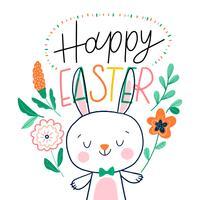 Personagem de coelhinho da Páscoa com flores laranja e letras ao redor