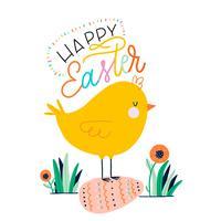 Frango pequeno bonito sobre ovo de Páscoa e letras vetor