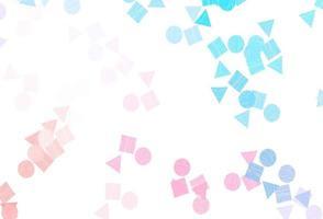 fundo vector azul, vermelho claro com triângulos, círculos, cubos.