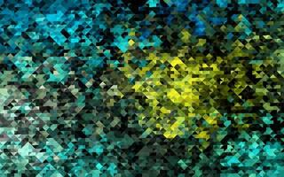 modelo de vetor azul escuro, amarelo com cristais, triângulos.