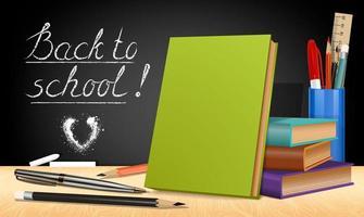 banner back to school layout books e papelaria em um quadro negro vetor