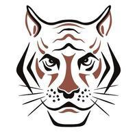 esboço de rosto de tigre. 2022 é o ano do calendário chinês vetor