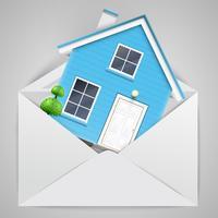 Casa em um envelope, vetor