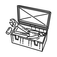 ícone da caixa de ferramentas. doodle desenhado à mão ou estilo de ícone de contorno vetor
