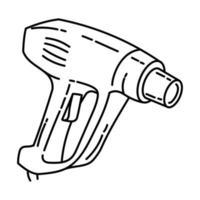 ícone da arma de calor. doodle desenhado à mão ou estilo de ícone de contorno vetor