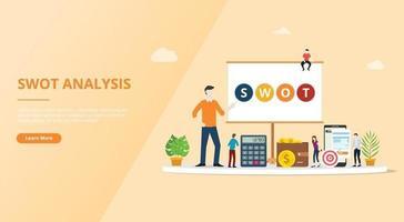 conceito de negócio de análise swot para página de design de modelo de site vetor