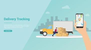 rastreamento de entrega on-line com mapas GPS para smartphone vetor