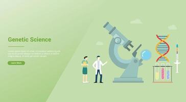 ciência genética conceito de engenharia de saúde com microscópio e laboratório vetor