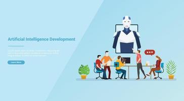 IA ou desenvolvimento de inteligência artificial para modelo de site vetor