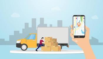 sistema de rastreamento de entrega de carga online com caminhão e GPS vetor