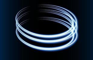 efeito de luz do círculo abstrato azul isolado no fundo azul vetor