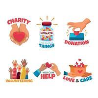 conjunto de adesivo do dia humanitário vetor
