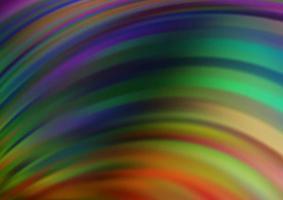 multicolor escuro, padrão de vetor de arco-íris com linhas ovais.