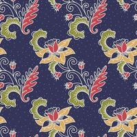 padrão sem emenda de flor ornamental de batique vetor