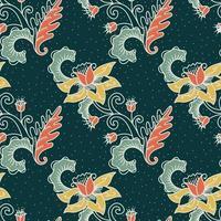 padrão sem emenda de flores ornamentais de batik vintage vetor