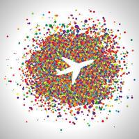 Avião feito por pontos, vetor