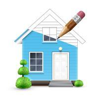 Casa realista sendo desenhada, vetor