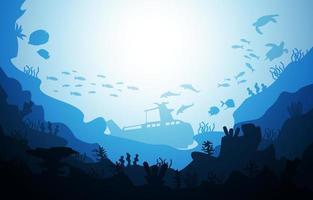 submarino navio vida selvagem animais marinhos oceano subaquático aquático vetor