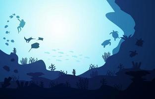mergulhador mergulho vida selvagem peixes animais marinhos ilustração aquática subaquática vetor