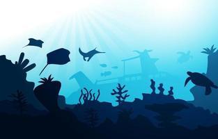 navio afundado vida selvagem animais marinhos oceano ilustração aquática subaquática vetor