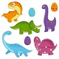 conjunto colorido de dinossauros. vetor, estilo cartoon. animais período jurássico. vetor