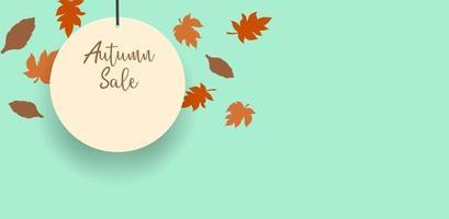 fundo de exibição do tema da temporada de venda de outono. vetor