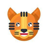 Emoji de tigre rir com dentes e olhos fofos vetor