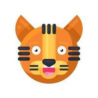 tigre sorrindo com dentes engraçado fofo vetor emoji