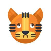 melancolia de tigre e emoji de emoção entediante vetor